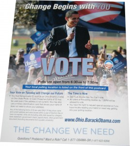 Obamas mailings dont even mention John McCain - theyre all about energizing voters to turn out at the polls