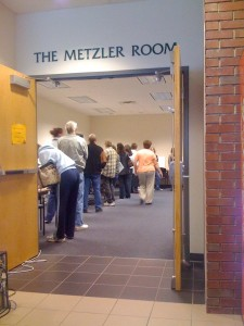 Voters line up to cast a ballot in Wooster, OH