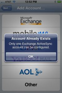 The iPhone doesn't support more than one Exchange/ActiveSync pairing