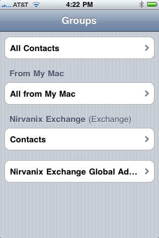 Like calendars, contacts now supports both iTunes and over-the-air Exchange syncing
