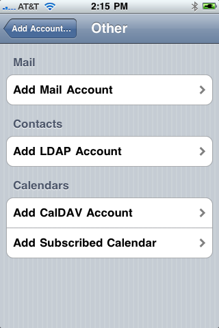 iPhone 3.0 includes direct over-the-air use of CalDAV, ICS, and LDAP servers