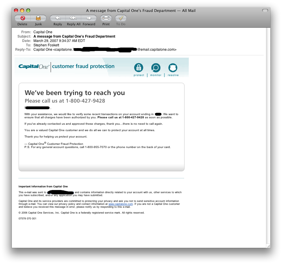 Although it looks like a phishing come-on, this email was totally legit!