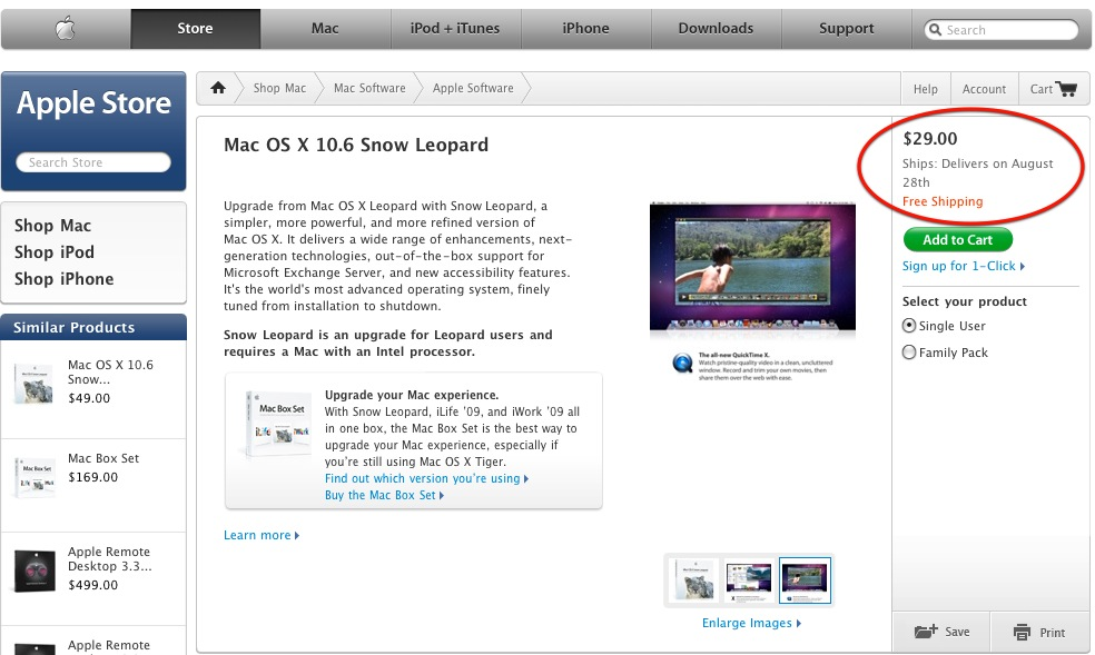 "Mac OS X 10.6 ""Snow Leopard"" deliveries begin on August 28!"