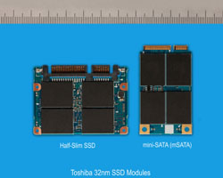 mSATA SSDs like this Toshiba model reuse reserved Mini-PCIe pins for SATA connections