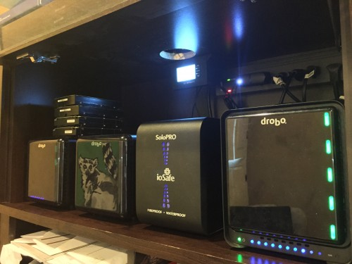 That's a lot of storage! L-R: 8 TB drobo3 with extra 8 TB disk pack, 6 TB drobo2, 1 TB ioSafe, 5 TB droboS2