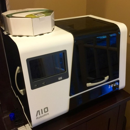 The AIO Robotics Zeus is a well-built all-in-one 3D printer, scanner, copier, and fax with a touch screen computer controller