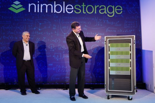 Suresh Vasudevan and Varun Mehta unveil Nimble's all-flash AF7000 storage array